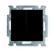 Механизм 2-клавишного, 1-полюсного выключателя с клавишей, с линзой подсветки, с неоновой лампой, серия Basic 55, цвет ch?teau-black