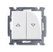 Механизм 2-клавишного, 1-полюсного выключателя жалюзи без фиксации с клавишей, серия Basic 55, цвет альпийский белый