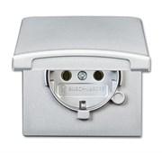 Розетка SCHUKO, 16А 250В, с крышкой, уплотнительное кольцо в комплекте, серия Allwetter44, IP44, цвет серебристый алюминий