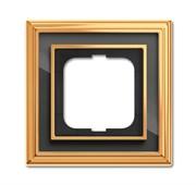 Рамка 1-постовая, серия Династия, Латунь полированная, черное стекло