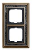 Рамка 2-постовая, серия Династия, Латунь античная, черная роспись