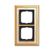 Рамка 2-постовая, серия Династия, Латунь полированная, белая роспись
