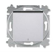 Переключатель одноклавишный с подсветкой ABB Levit ориентационная серебро / дымчатый чёрный