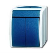 Выключатель 2-клавишный, для открытого монтажа, IP44, серия ocean, цвет серый/сине-зелёный