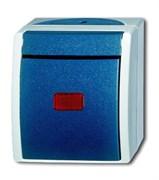 Переключатель 1-клавишный, контрольный, IP44, для открытого монтажа, серия ocean, цвет серый/сине-зелёный