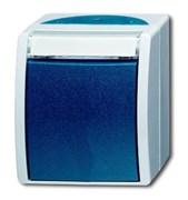 Переключатель 1-клавишный, IP44, для открытого монтажа, серия ocean, цвет серый/сине-зелёный