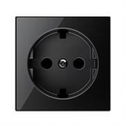 Накладка для розетки SCHUKO с плоской поверхностью, серия SKY, цвет стекло чёрное