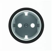 Накладка для розетки SCHUKO с плоской поверхностью, серия SKY Moon, кольцо чёрное стекло
